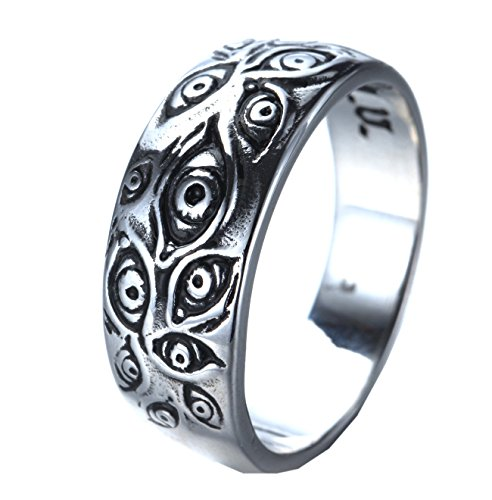 PMTIER Men's Vintage Stainless Steel Engraved Eye of God Ring Silver Tone Size 9 -