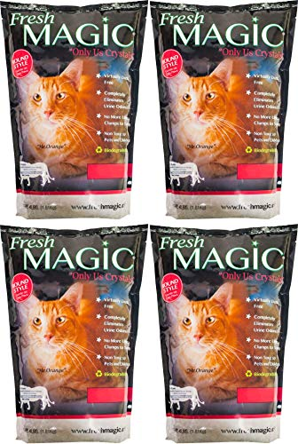 FreshMAGIC Round Style Low-Dust Crystal Cat Litter, 4 lb. Bag, Medium White Crystals for Automatic Litter Boxes, 4-Pack