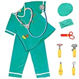FunsLane Doctor Role Play Set with Surgeon Dress up Costume and other Accessories Stethoscope, Reflex Hammer, Syringe for Kids Pretend Play 10 Pcs Toy Set