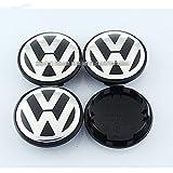 Automelody 4pcs A Set Of Wheel Center Caps Hubcap For VW Volkswagen Beetle Cabriolet CC EOS Golf Jetta Passat Phaeton Rabbit Routan Scirocco Tiguan Touareg (2 1/2 inches, For Jetta)