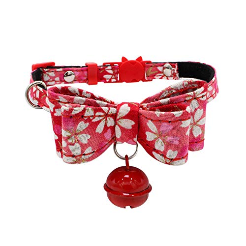 Collar For Small Dogs And Cats Cute Bowtie Dog Collar for Girls and Boys Detachable Bowknot Adjustable Bow Necklace Printed Collar With Bell Dog Puppy Pet Cat Safety Collar For Cat Head (Red, S) - Bed Cashew Dog