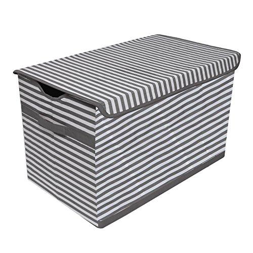 Bacati Pin Stripes Kids Storage Toy Chest, Grey