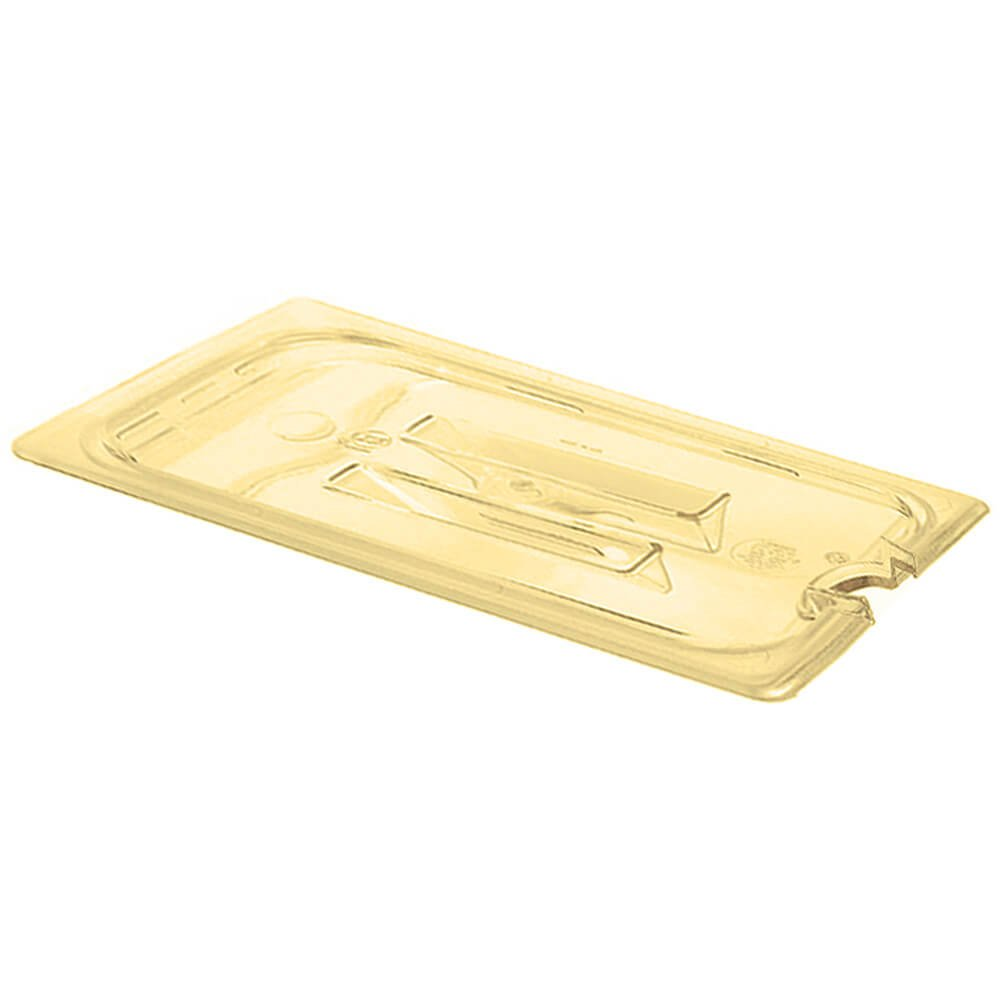 Cambro 30HPCHN150 H-Pan Cover 1/3 size notched with handle amber - Case of 6