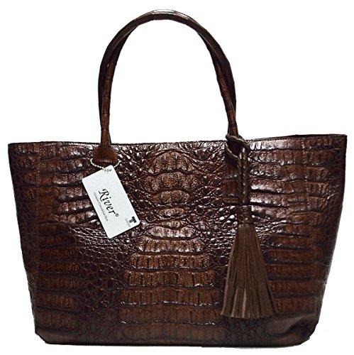 odile Skin Womens Genuine Hornback Leather Bag Tote W/Tuft Large Handbag (Dark Brown) (Exotic Skin Handbags)
