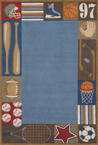 Momeni Rugs LMOJULMJ-4DNM3050 Lil' Mo Whimsy Collection, Kids Themed Hand Carved & Tufted Area Rug, 3' x 5', Denim (Lil Denim Whimsy Mo)