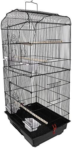 Pengky Parrot Bird Canary Parakeet Cockatiel Lovebird Finch Bird Cage with Wood Perches Stainless Steel Cup Food Cups