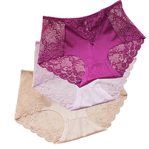 Sujisi Women's Sexy Lace Panties Intimate Lingerie 3 Pack Briefs Sheer Mid Waist Underwear,Fit US M-6,Label XL,3 Pack