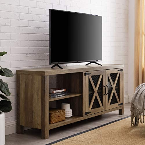 Walker Edison Farmhouse X Cabinet Wood Universal TV Stand for TV s up to 64 Flat Screen Living Room Storage Cabinet Doors and Shelves Entertainment Center Reclaimed Barnwood58 Inch