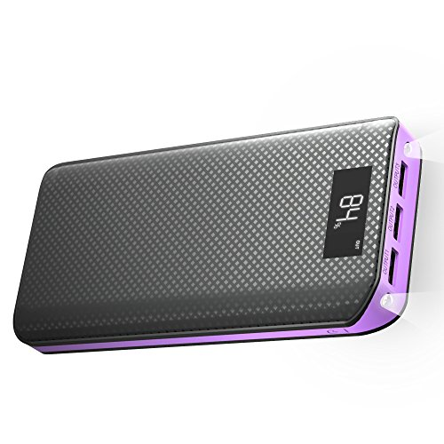 Power Bank, X-DRAGON 20000mAh Portable Charger 3-Port USB Output External Battery Charger Pack with LCD display for Phone8 X 7 6 6s , Samsung, Tablet, ipad and More-Purple