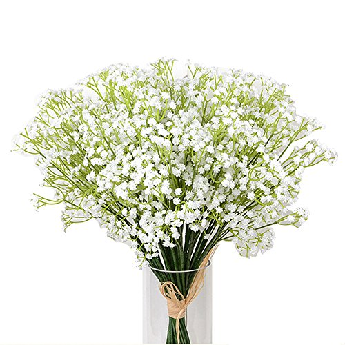 Kaimao 9 Pcs Artificial Gypsophila Flower / Fake Beautiful Flower for Wedding Party Home Decoration - White (Pink Long Stem Vases)