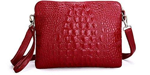 Crocodile Clutch Messenger Bags Handbags Women Genuine Leather Solid Shoulder (Burgundy Color)