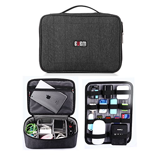 BUBM Electronic Organizer, Double Layer Travel Gadget Carry Bag for Cables/Lightning/Charger/Plugs/Earphone/Flash Hard Drive/Camera Lens/Earbuds and More, Sleeve Storage Pouch (Terminator Cable Data Cable)