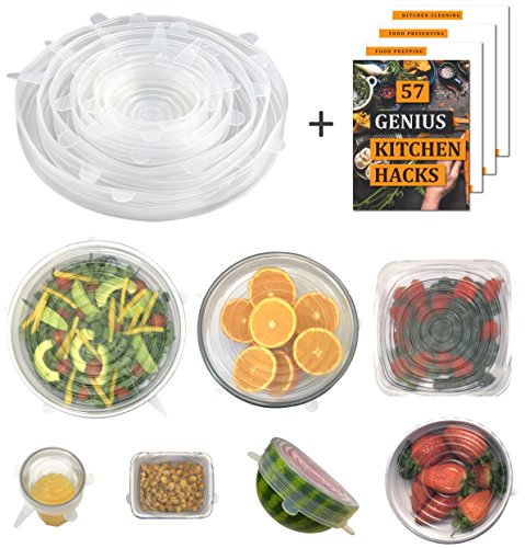 Silicone Stretch Lids by Archer - Set of 7 Reusable Clear Food Covers (inc XL 11 inch) - Stretch Each Lid to Cover Your Bowls, Cups, Plates, Containers, Tupperware, Pyrex - Clear Silicone Lid