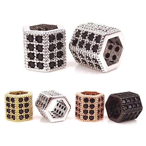 jennysun2010 Black Zircon Gemstones Cubic Zirconia Pave Hexagonal Rondelle Bracelet Connector Charm Beads Randomly mixed 10 pcs per Bag for Bracelet Necklace Earrings Jewelry Making Crafts Design