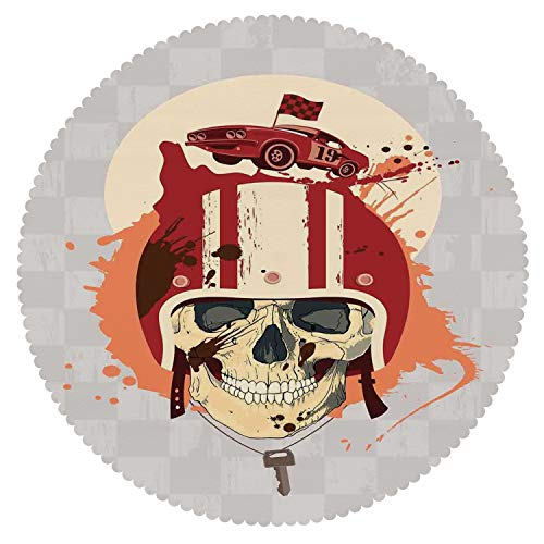 Round Tablecloth [ Skull,Racing Driver Skull with Helmet Dead Competitor Retro Horror Style Graphic Art Print,Multi ] Fabric Home Decor Set