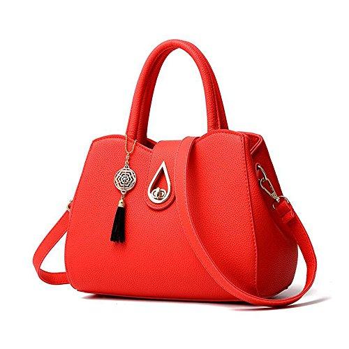 Toopot PU Bolso del monedero del bolso del bolso de la tapa-Manija Bolso del cuerpo de la cruz de la manera Rojo