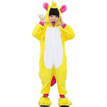 Tongchou Kids Unicorn Costume Animal Sleepsuit Halloween Cosplay Flannel  Pajamas Yellow Size 100  Amazon.co.uk  Baby fd64cefc2