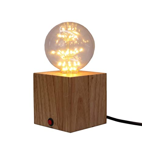 QEQ Lámpara de Mesa de Madera Square Portalámparas con ...