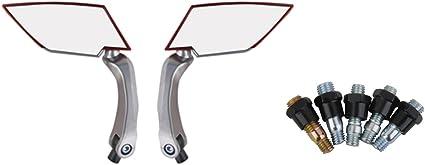 1 Par Espejo Retrovisores Universal Dise/ño Diamante Vista Lateral Trasera para Motocicleta Rojo