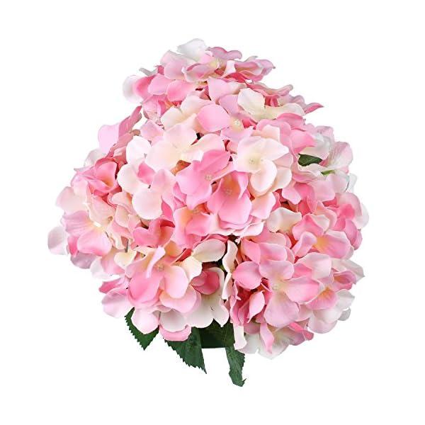 SOLEDI Artificial Silk Hydrangea Fake Dried Flower Bush with 7 Mop Heads Flower Bunch Bouquet Home Hotel Wedding Party Garden Floral Decor Hydrangea (Pink)