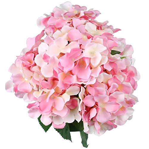 Artificial Silk Hydrangea SOLEDI Fake Dried Flower Bush with 7 Mop Heads Flower Bunch Bouquet Home Hotel Wedding Party Garden Floral Decor Hydrangea (Pink) from SOLEDI