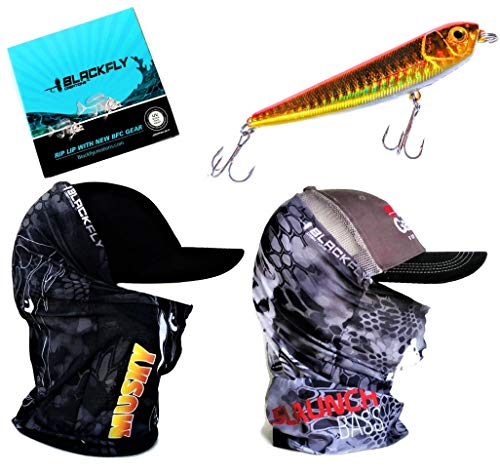 Fishing Mask Neck Gaiter Gift Set +Bonus Topwater Lure! Bass Musky Fishing Gear Matches Kryptek Camo Headwear Headband Bandana with UV Sun Bug Dust Cold Protection for Men Women & Kids by Black Fly