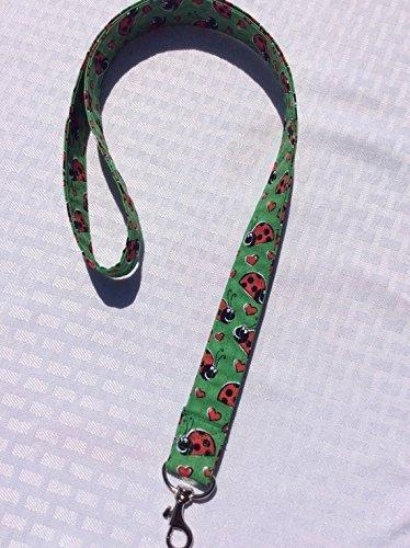 (Green Ladybug Lanyard ID Badge Key Holder Keeper Fabric Green Red and Black Red Hearts Love Bug)