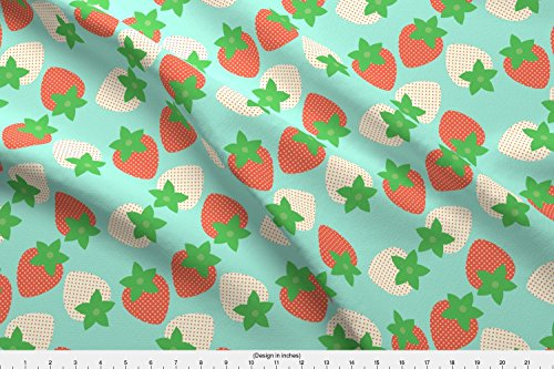 Shortcake Fabric Strawberry Fields by Hugandkiss Printed on Satin Fabric by the Yard by Spoonflower (Shortcake Shorts Strawberry Satin)