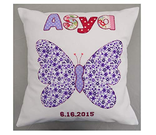 Girls Personalized pillow New baby gift named butterfly design Standard delivery 7 days