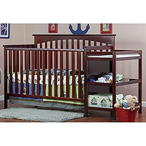 Dream On Me Chloe 5-in-1 Convertible Crib with Changer, Cherry - Standard Height Cherry