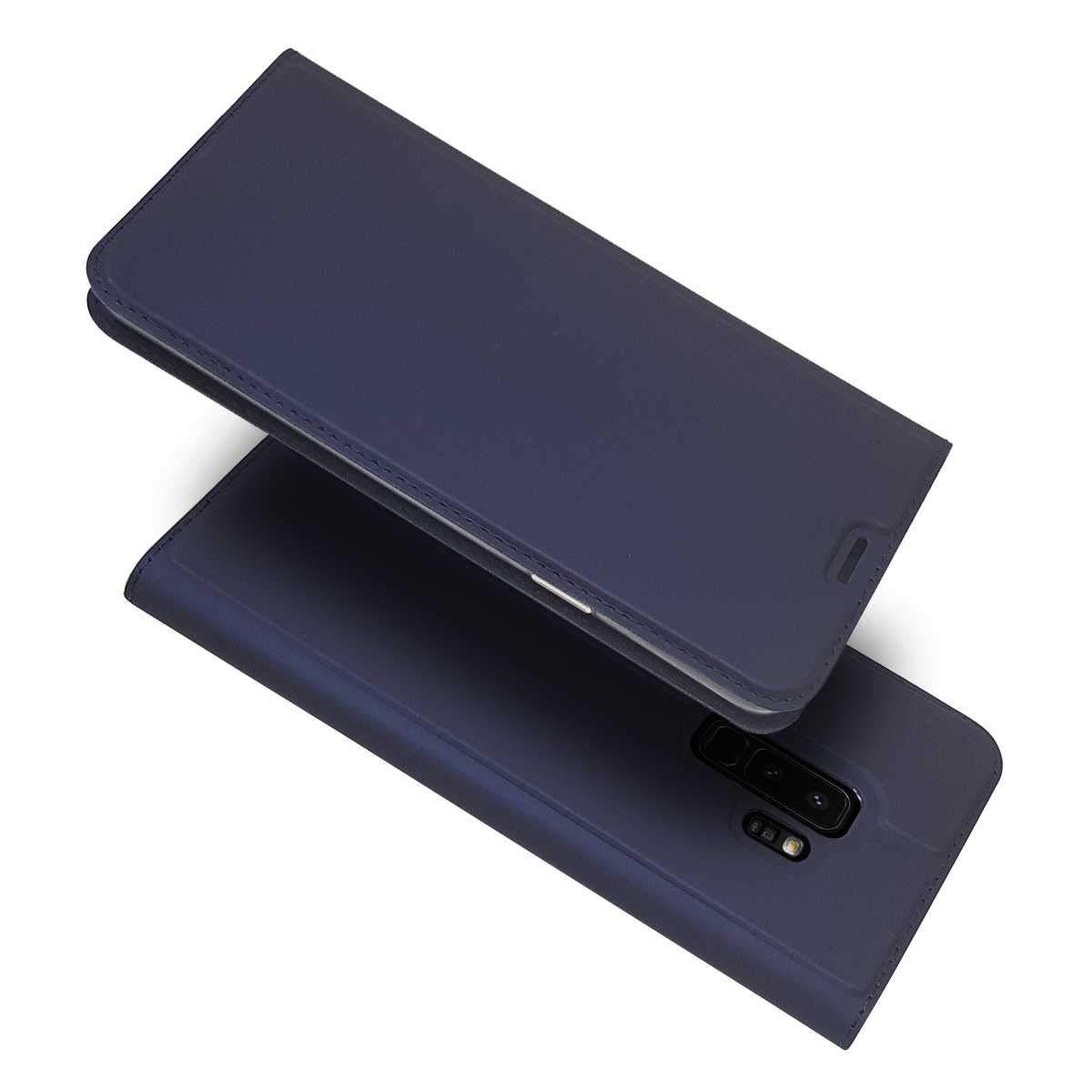 Galaxy S7 Hülle, Conber Lederhülle Handyhülle mit [Frei Schutzfolie], Premium Ultra Dünn PU Tasche Leder Flip Case Cover Schutzhülle für Samsung Galaxy S7 - Blau Galaxy S7 Hülle