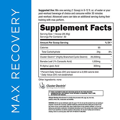 NOVA Three Labs Max Recovery Protein Post Workout Carbohydrate and Whey Isolate Protein that Enhances Glycogen Repletion, Increases Insulin Sensitivity 30 Servings Chocolate Milkshake