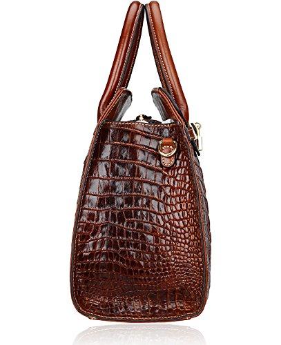 And 35 Handbags Satchel Handbags Crocodile Designer Cm PIJUSHI Croco Top Handle Brown Women Purses Bags xSvFpqEP
