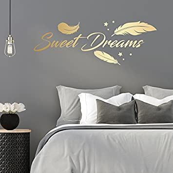 Sweet Dreams - Federn - Schlafzimmer - 45 cm x 120 cm - Wandtattoo - Gold