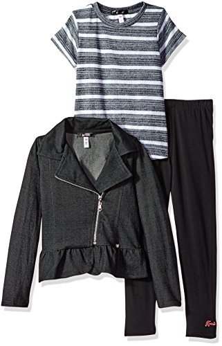 kensie Girls' Little Jacket, Knit Top and Legging Set (More Styles Available), Black-CCFJ, 4 from kensie