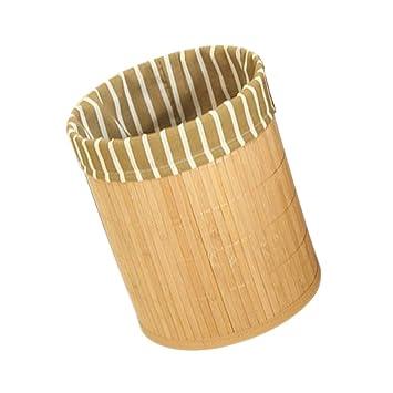 P Prettyia Bambus Mulleimer Buro Abfallsammler Papierkorb Streifen