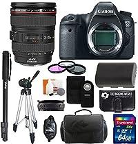 Canon EOS 6D SLR Digital Camera with Canon 24-105mm f/4.0L IS USM AF Lens + Battery + Tripod + Monopod + Case + 64GB Master Accessory Bundle