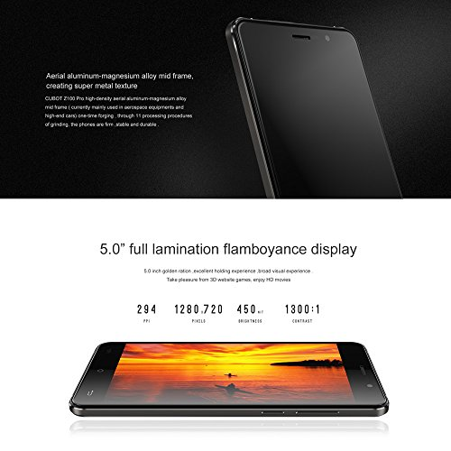 Cubot Z100 Unlocked Cellphone 5.0'' IPS Screen MTK6735 64Bit Qual Core 1.0GHz CPU Android 5.1 OS 1GB RAM 16GB ROM 13.0MP Camera