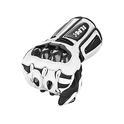 ILM Air Flow Leather Motorcycle Gloves For Men and Women (M, White-Long): Automotive