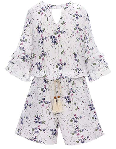 Smukke, Big Girls Floral Printed Tier Ruffle Sleeves Romper (Many Options) with Pockets, 7-16 (12, Ivory) ()