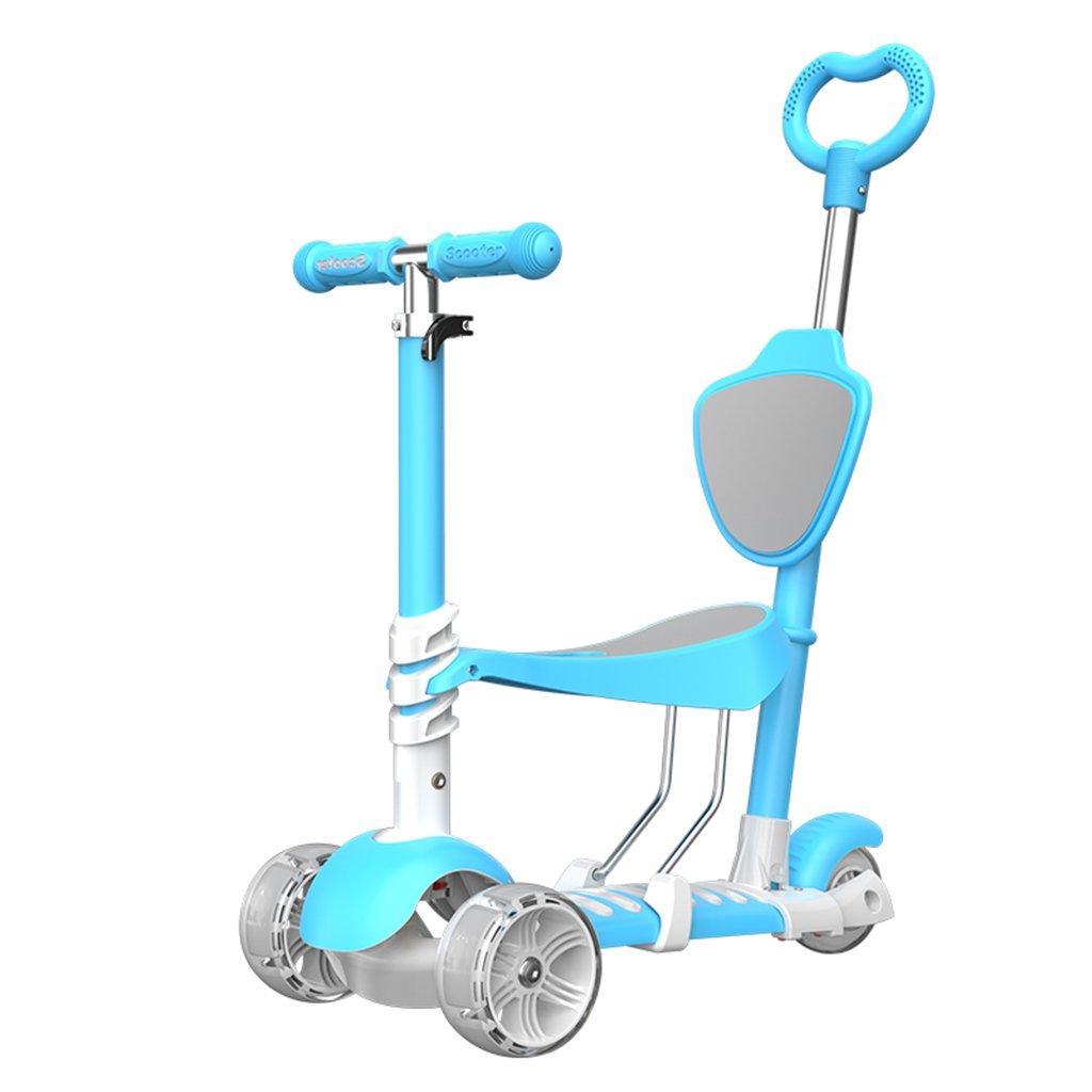 新規購入 子供用スクーター多機能ウォーカー四輪折りたたみ椅子お座りヨー車のフラッシュホイール3-12歳の手押しタイプ B07FYCL1NY B07FYCL1NY Blue Blue Blue, おしゃれ家具照明の快適ホームズ:46ebc6a3 --- a0267596.xsph.ru