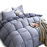 Alternative Comforter - KASENTEX All Season Down Alternative Quilted Comforter Set Reversible Ultra Soft Duvet Insert Hypoallergenic Machine Washable, King, Quartz Silver/Pebble Grey