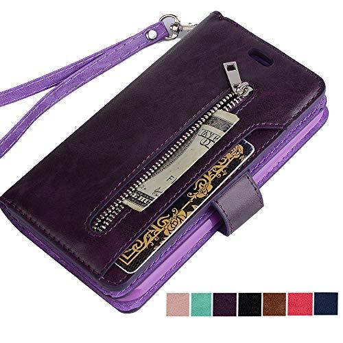 (ZCDAYE iPhone XR Zipper Wallet Case,Premium [Magnetic Closure] Multi-Functional Handbag Stand Function Folio PU Leather Flip Cover Inner Soft TPU Case for iPhone XR - Purple)
