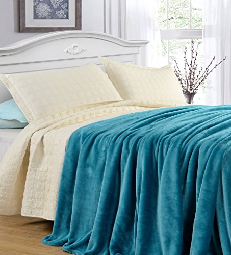 Grand Linen Twin Size Turquoise Blue Cozy-Flannel Thermal Blanket/Throw - Snuggle in These Super Warm Bed Blanket. Easy Care and Extra Soft Fabric