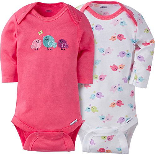 Gerber Baby Girls' 2 Pack Long Sleeve Onesies