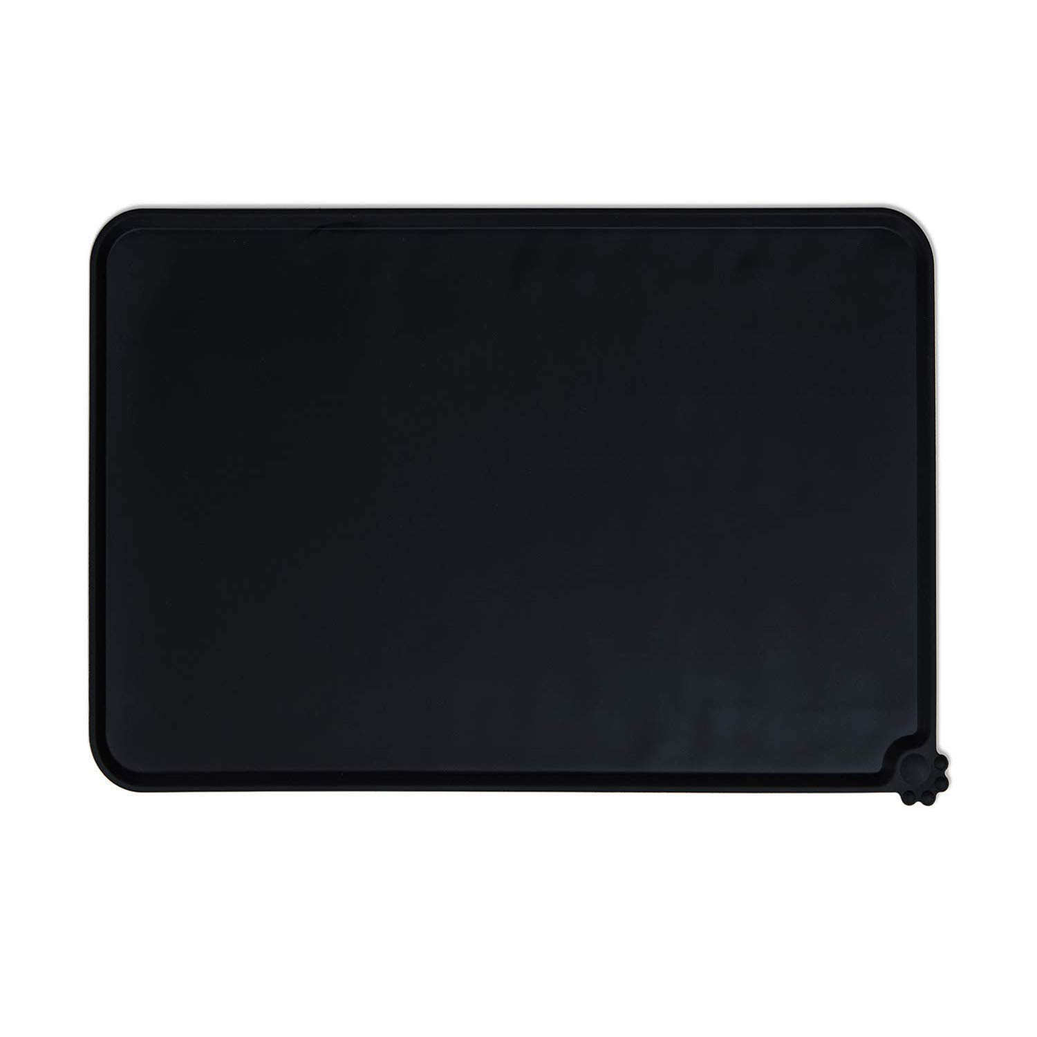 Black ( L ) SACRONS-Silicone Pet Feeding Mat, Pet Bowl Mat Pad, Soft, Waterproof, Easy to Clean, to Prevent Food and Water Spilled on The Ground,Dog & Cat Food Mat (Black (L))
