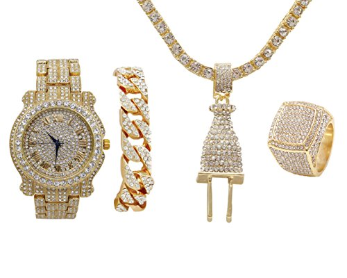 Bling-ed Out Plug Hip Hop Pendant - Iced Look Luxury Watch Covered with Crystal Clear Rhinestones - Gold Iced Cuban Bracelet and Bling Ring Gift Set - Shine Like a -