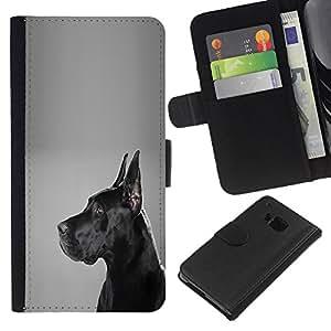 German Mastiff Black Dog Shorthair - la tarjeta de Crédito Slots PU Funda de cuero Monedero caso cubierta de piel HTC One M9