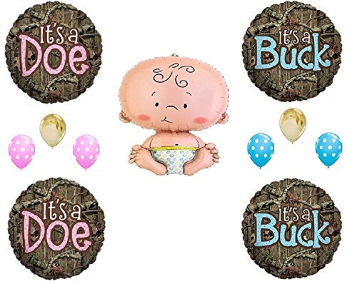 MOSSY OAK GENDER REVEAL CAMO DOE BUCK Balloons Decoration Supplies Baby Shower (Camoflage Party Supplies)