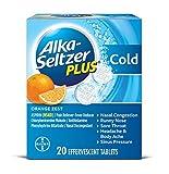Alka-Seltzer Plus Cold Medicine, Orange Zest Effervescent Tablets with Pain Reliever/Fever Reducer, Orange Zest, 20 Count